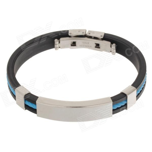 Decompression Anion Silicone Non-Allergy Bracelet - Silver + Black + Sky Blue decompression anion pu leather non allergy bracelet silver black coppery