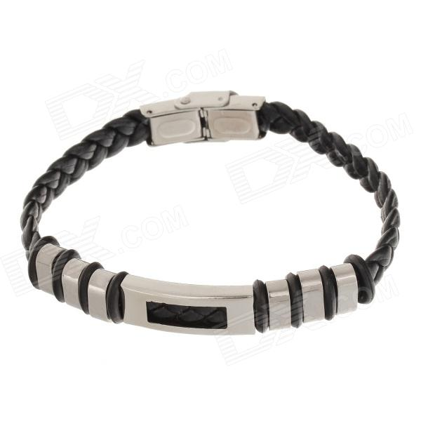 Decompression Anion PU Leather Non-Allergy Bracelet - Silver + Black decompression anion pu leather non allergy bracelet silver black coppery
