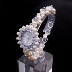 EANA WD04003C Sea Pearl Woven Flowers Rhinestone Women's Quartz Bracelet Watch - White (1 x SR626SW)