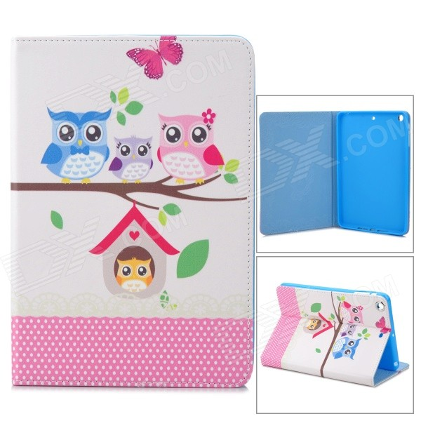 Stylish Owl Pattern Protective PU Leather Case Cover Stand for Ipad MINI - White + Pink
