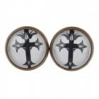 Jesus Cross Pattern Ancient Palace Bronze Ear Studs - White + Black (Pair)