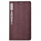 KAIMEI Lucky Series PU Leather + Plastic Case Cover Stand for Samsung Galaxy Note 3 N9000 - Brown