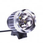 BN004 3 x Cree XM-L T6 2400lm 3-Mode White Bicycle Light Headlamp - Grey + Silver (4 x 18650)