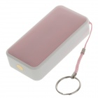 Compact 4300mAh Portable Mobile Power Source Bank w/ Strap Ring for Samsung + More - Pink + White
