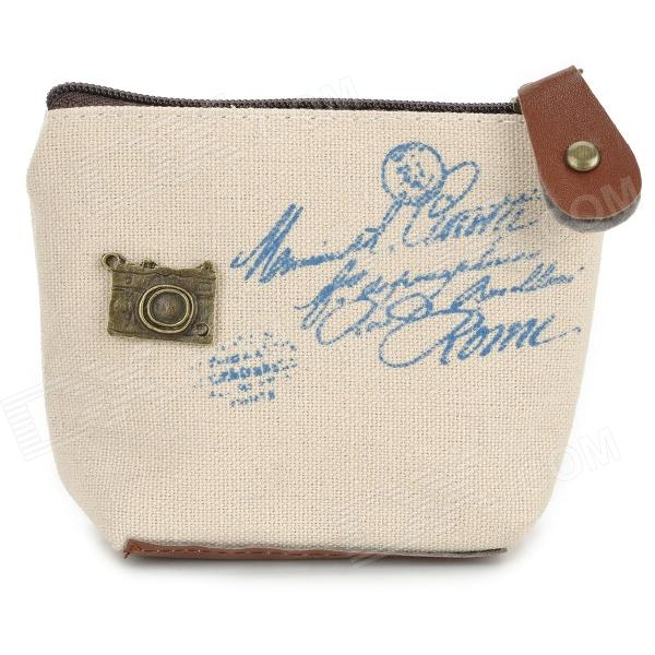 Linen Zippered Coin Purse - Blue + Beige