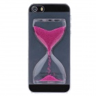 BEST Creative Sand Timer Style Protective Plastic Back Case for Iphone 5S - Transparent + Purple