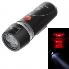 50lm 5-LED Cool White Light 2-Mode Flashlight + Warning Safety Light + Bicycle Mount Holder Clip