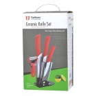 TJC TJC-029 6.5'' Large Kitchen Knife + 4'' 6'' Zirconia Ceramic Knives + Peeler + Stand