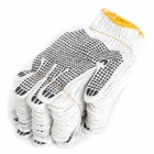 Hongyang Protective Working Cotton Glove w/ Anti-slip Rubber Grain - White (10 Pairs)