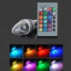 E14 3W 30LM R/C RGB LED Canle Light Lamp - White + Silver (AC 100~240V)