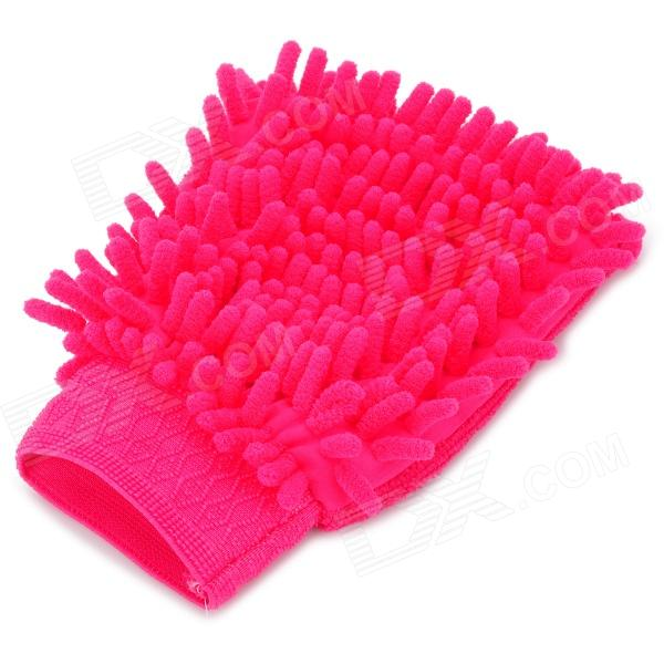 HongYang X-01 Chenille Fiber Single-side Car Washing Glove / Cleaning Cloth - Deep Pink