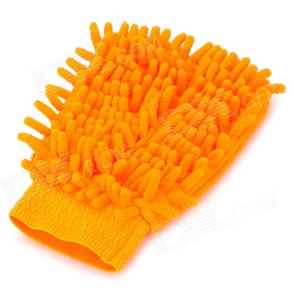 HongYang X-02 Chenille Fiber Single-side Car Washing Glove / Cleaning Cloth - Yellow