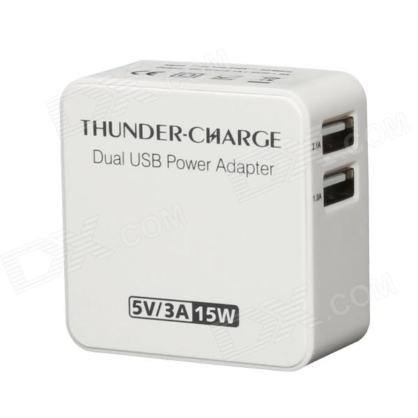 EP-530 15W 5V 3A Dual USB AC Power Charger Adapter - White (US Plug / AC 100~240V) ihave tank 3 4a 2 usb port us plug power adapter w eu plug converter black ac 100 240v