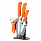 TJC 029 6.5'' Kitchen Knife + 4'' 6'' Zirconia Ceramic Knives + Peeler + Stand - White + Orange