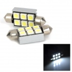 SV8.5 39mm Girlande-500LM 6000K White Light 6-LED SMD Licese Platte / Trunk / Leselampe (2 Stück)