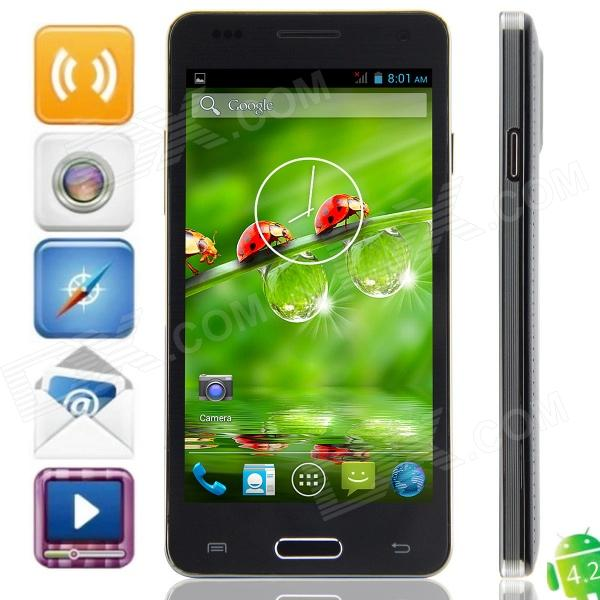 W9002 MTK6582 Quad-Core Android 4.2.2 WCDMA Bar Phone w/ 4.5, FM, Wi-Fi, GPS - Black finesource g7 android 4 4 quad core wcdma bar phone w 5 5 4gb rom wi fi gps ota black