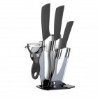 6.5'' Large Kitchen Knife + 4'' 6'' Zirconia Ceramic Knives + Peeler + Stand - White + Black
