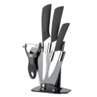 TJC 029 6.5'' Large Kitchen Knife + 4'' 6'' Zirconia Ceramic Knives + Peeler + Stand - White + Black