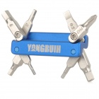 Yongruih HF-84 Bicycle Mini 8-in-1 Folding Multi-Function Screwdriver Tools - Blue + Silver