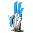 6.5'' Kitchen Knife + 4'' 6'' Zirconia Ceramic Knives + Peeler + Stand - White + Sky Blue