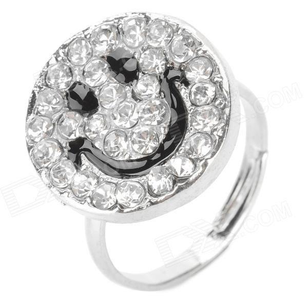 Smile Pattern Alloy Rhinestone Finger Ring (U.S. Size 8)