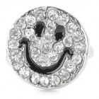 Sourire Motif strass alliage bague (Taille US 8)