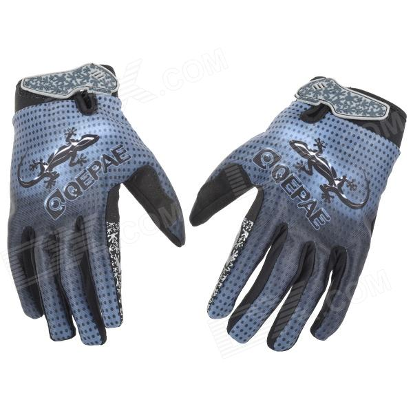 Qepae F7512 Gecko Pattern Cycling Anti-Slip Breathable Full-Finger Gloves - Blue + Black (Size M)