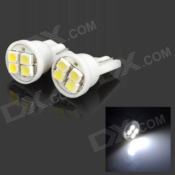 T10 0.3W 10LM 6000K 4 x 1210 SMD LED White Light Width / License Plate / Car Door Lamp (2 PCS)