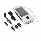 PR-006 3-in-1 4-LED Solar Charger / Flashlight / FM Radio - White + Black