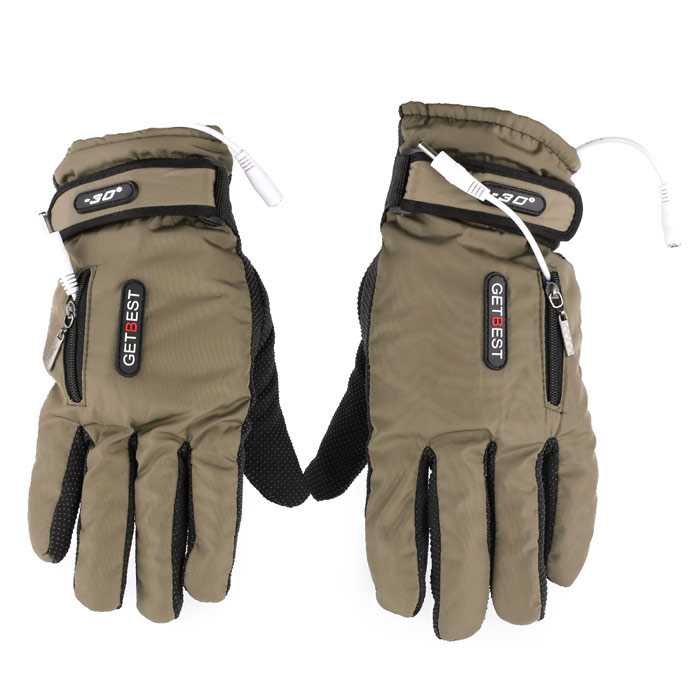 GETBEST GC6106 Motorcycle / Electromobile Rechargeable Electric Warming Gloves for Woman - Khaki