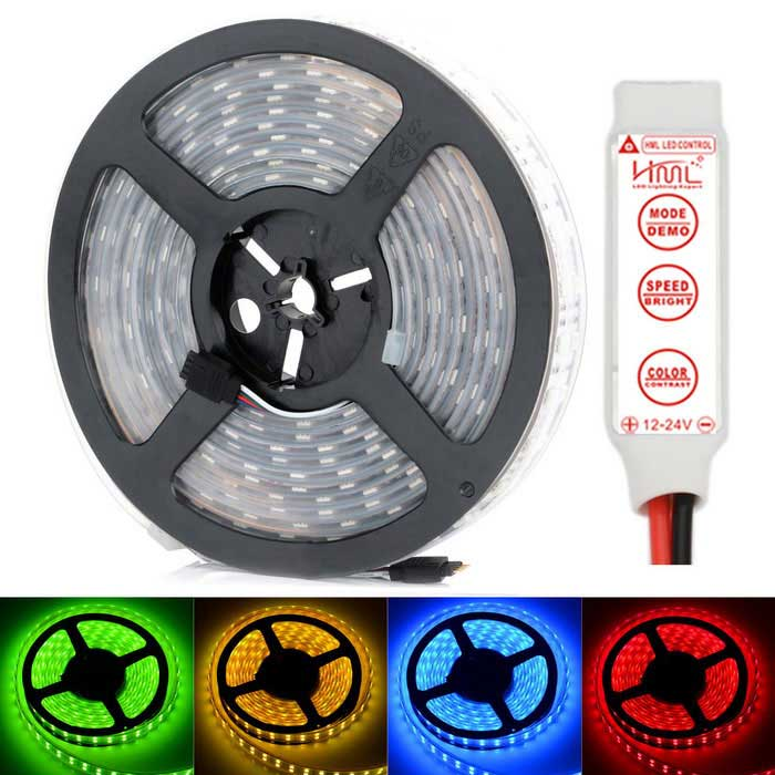HML Waterproof Dual Row 144W 6500lm 600 x SMD 5050 RGB Light Strip w/ Mini RGB Amplifier (12V / 5m) hml ip67 waterproof dual row 144w 600 smd 5050 rgb light strip w mini rgb controller 12v 5m