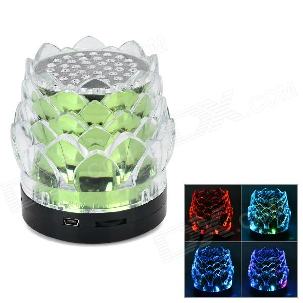 Lotus Flower Style Mini 3W Portable Speaker w/ Mini USB / TF / FM - Green + Black + Transparent mini portable bluetooth v2 0 mp3 player speaker w mini usb fm tf led green transparent