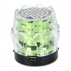 Lotus Flower Style Mini 3W Portable Speaker w/ Mini USB / TF / FM - Green + Black + Transparent