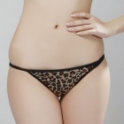 Fashion Sexy Hollow Out Leopard Style Underwear - Yellow + Leopard