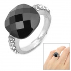 Zinc Alloy + Acrylic Finger Ring for Women - Black + Silver (Free Size)
