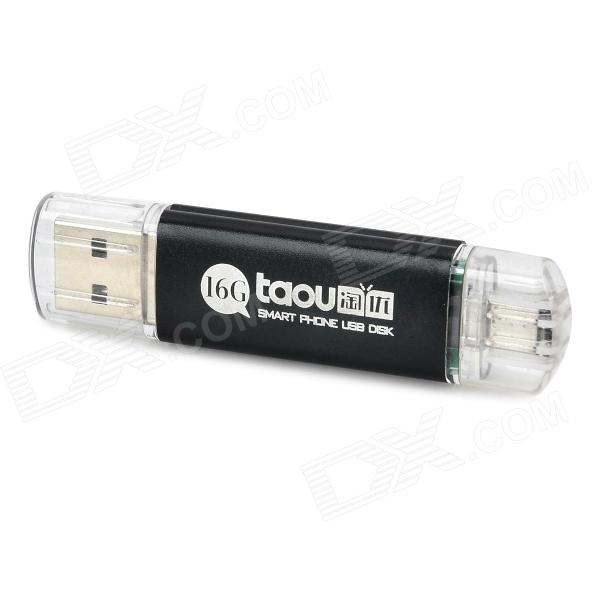 Taou KK USB 2.0 / Micro USB Flash Drive w/ Indicator - White + Black (16GB)