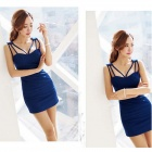 YM6065 Sexy Skinny Braces Skirt Dress- Blue