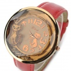 3330 Cute Cat Pattern Zinc Alloy Casing PU Wristband Watch for Woman - Red + Golden