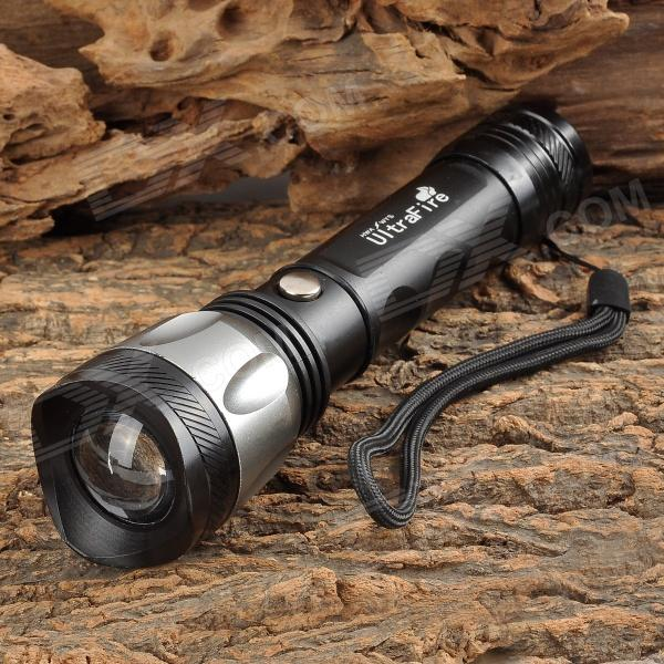 UltraFire MT-C05 LED 100lm 3-Mode White Zooming Flashlight - Black + Silver (1 x 18650)