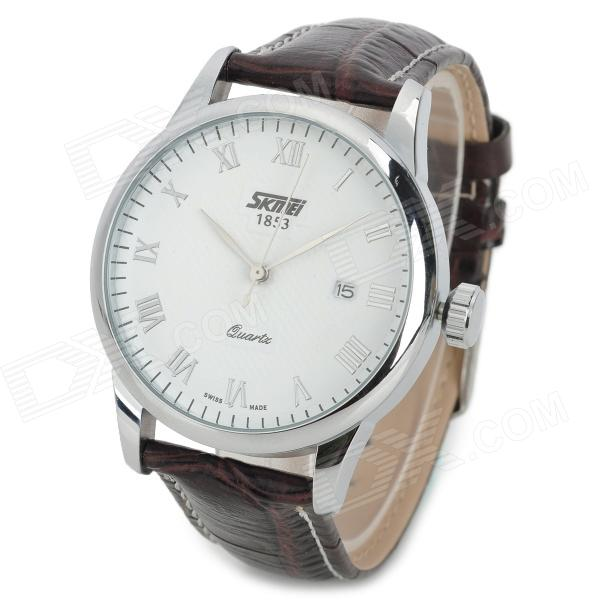 SKMEI 9058C Fashion Men's Quartz PU Wristband Watch - White + Brown skmei 9058 fashion men watches water resistant dress watch analog display quartz wristwatches