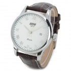 SKMEI 9058C Fashion Men's Quartz PU Wristband Watch - White + Brown