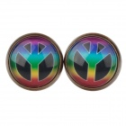 Three Fork Pattern Ancient Palace Bronze Ear Studs - Multicolored (Pair)