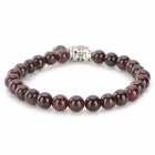 SHIYING BSa0038-0011 Nature Garnet Bracelet - Red + Silver