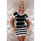 27505 Lässige Pullover Sweater Dress - Black + White