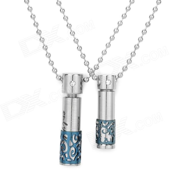 SHIYING BH-110323 Stainless Steel Chain Couple Pendant Necklace - Silver + Blue (Pair)