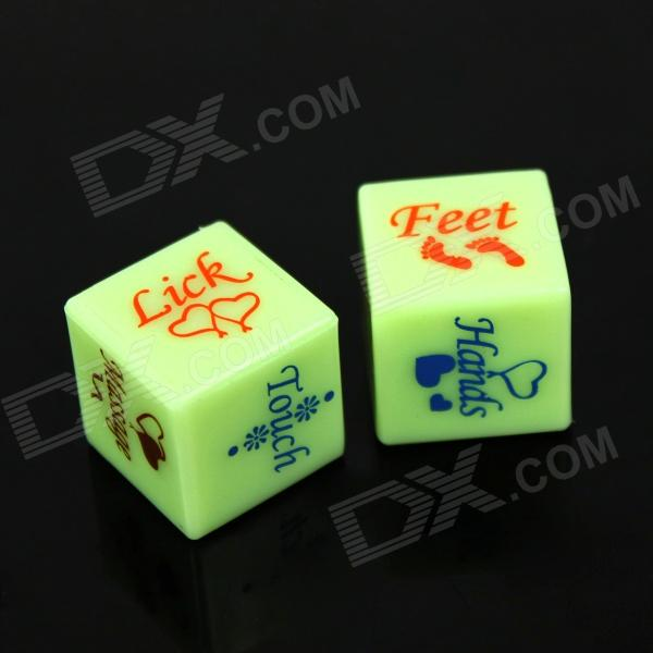 Plastic spoof fun dice - green + blue (2 pcs)...
