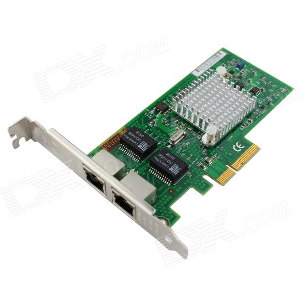 Winyao WY5709-T2 PCI-E X4 Dual Port Server Gigabit Network Card Adapter - Green адаптер dell qlogic 2562 dual port 8gb fibre channel hba pci e x8 full profile kit 406 bbek