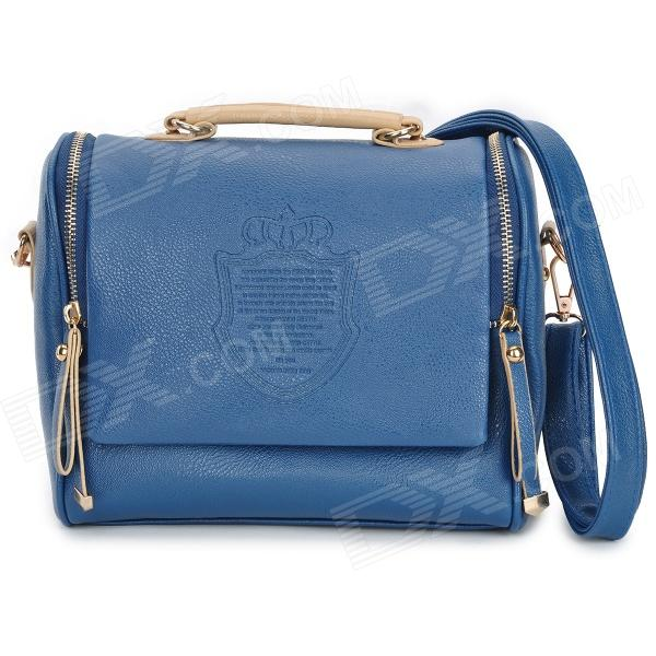 Fashion PU Leather Zipper Shoulder Bag - Royal Blue + Brown