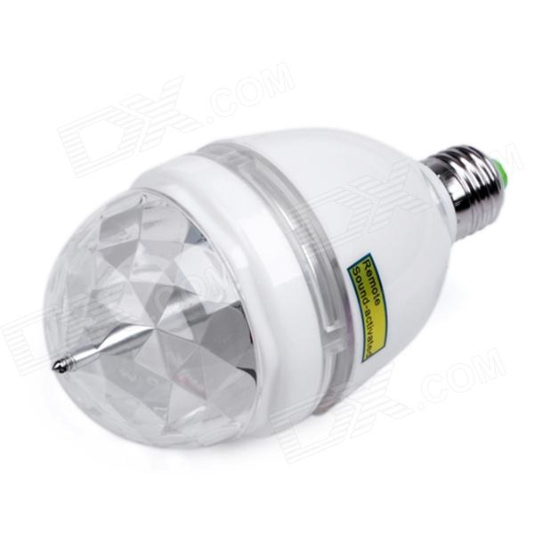 E27 3W 180lm 3-LED RGB Light Sound-Activated Rotating Stage Bulb - Transparent + White (AC 85~260V) new d19 sound activated 5w 48 led rgb crystal magic sunflower light white