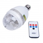 E27 3W 180lm 3-LED RGB Light Sound-Activated Rotating Stage Bulb - Transparent + White (AC 85~260V)
